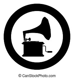 Phonograph Gramophone vintage Turntable for vinyl records icon in circle round black color vector illustration flat style image