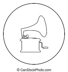Phonograph Gramophone vintage Turntable for vinyl records icon in circle round outline black color vector illustration flat style image