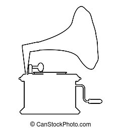 Phonograph Gramophone vintage Turntable for vinyl records icon outline black color vector illustration flat style image
