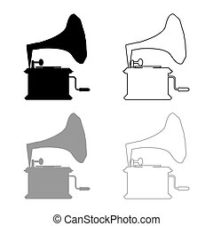 Phonograph Gramophone vintage Turntable for vinyl records icon outline set black grey color vector illustration flat style image