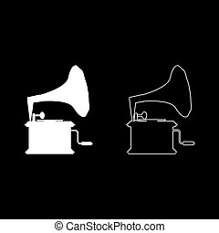 Phonograph Gramophone vintage Turntable for vinyl records icon outline set white color vector illustration flat style image