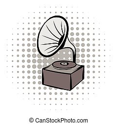 Phonograph grey comics icon - Phonograph grey and black...