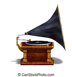 phonograph - rendering of a grammophon with Clipping Path...