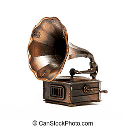 Phonograph - Old bronze Phonograph over white background....