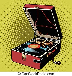 Phonograph vinyl record player pop art retro vector. Music...