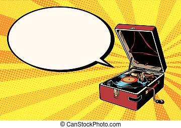 Phonograph vinyl record player pop art retro vector. Music ...