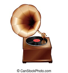 phonographe, ancien, fond blanc