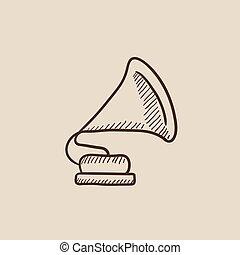 phonographe, croquis, icon.