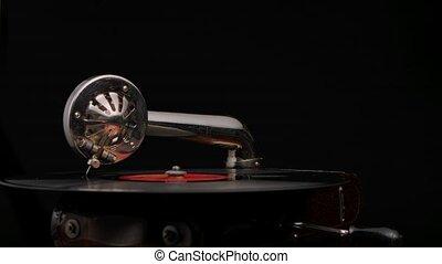 phonographe, fin, retro, tourne, platine, aiguille, joueur, enregistrement, arrière-plan., lent, cas, vendange, vinyle, bois, style, vieux, record., haut., partie, noir, motion., studio