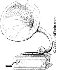 phonographe, vieux, croquis