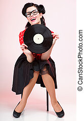phonography, análogo, registro, menina, pin-up, retro