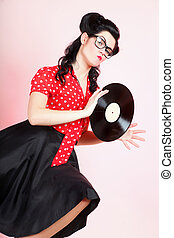 phonography analogue record Girl pin-up retro - style Sexy ...