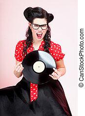 phonography, nadel-auf, aufzeichnen, retro, analog, m�dchen