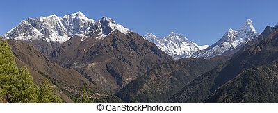 Phortse village on a hill, Everest, Lhotse and Ama Dablam