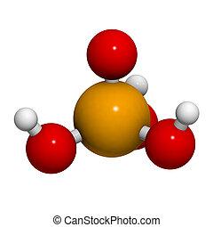 Phosphoric acid (H3PO4) molecule, chemical structure. ...