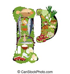 Phosphorus healthy nutrient rich food vector illustration - ...