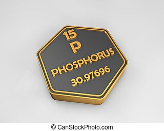 phosphorus - P - chemical element periodic table hexagonal shape 3d illustration