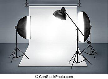 photo, éclairage, studio, équipement