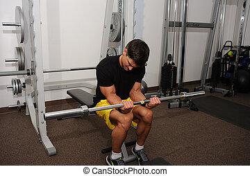 photo., человек, performs, упражнение