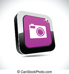 Photo 3d square button.