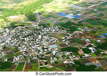 photo, aérien, village