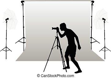 photo, -, accessoires, equipment., studio