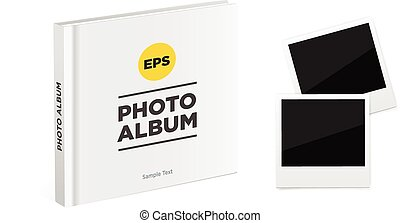 Photo album book with white cover and Vintage photo frames. Vector mockup