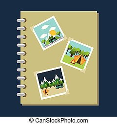 photo album gallery travel vacations vector illustration