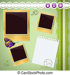 Photo album page with gardening elements