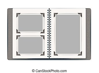 photo album pages with retro photo frames. vector design template