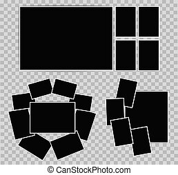 Photo album set of photo frames with white border on transparent background. Composition of photographic frames for Your design. Vector illustration
