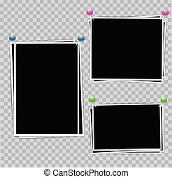 Photo album set of photo frames with white border on transparent background. Composition of photographic frames with color pins for Your design. Vector illustration