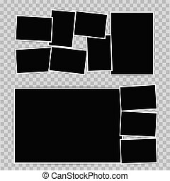 Photo album set on transparent background. Vector design template