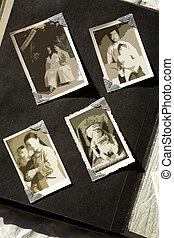 Photo Album with old stained photos, all photos have been...