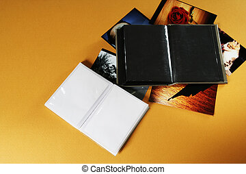 Photo album - Opened empty photo album with copy space.
