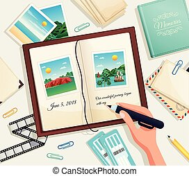 Photo Album Vector Illustration - Photo album cartoon vector...