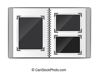 photo album with spiral empty frames on white. vector illustration