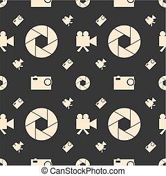 Photo and video camera flat icons seamless pattern