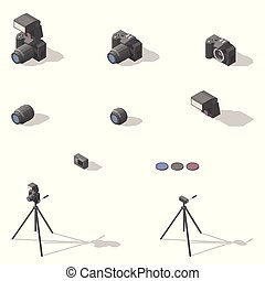 Photo and video equipment isometric low poly icon set