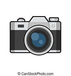 photo, arrière-plan., vecteur, retro, blanc, appareil photo, icône