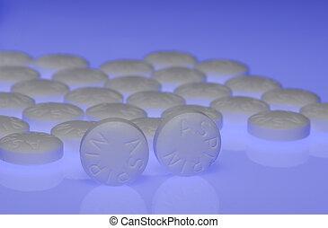 Aspirin - Photo Aspirins With Gel Lighting - Medical Concept