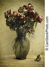 Photo based illustration of a bouquet of dying roses.