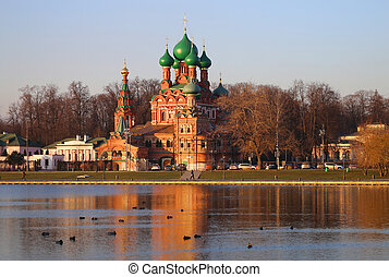 Photo beautiful Christian Church in the center of Moscow