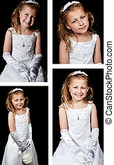 beautiful portrait of a young girl in white dress