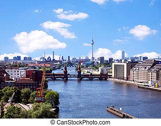 photo, berlin, aérien, horizon