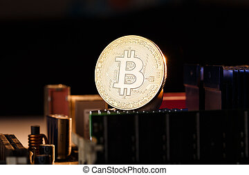 photo, bitcoin, monnaie, crypto, orange, fond, processeur