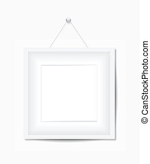 photo, blanc, cadre