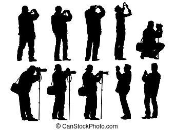 photo, blanc, homme, onze
