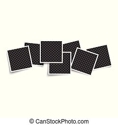 Photo blank square frames mockup 3d realistic vector illustration isolated.