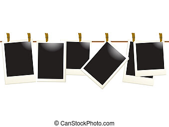 photo-blanks-on-a-rope - Vector illustration of empty photos...